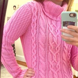 Ralph Lauren Cable Knit Turtleneck Sweater Pink S